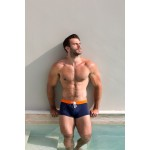 Orange & navy swim trunk