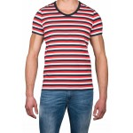 T-shirt V rayures tricolores